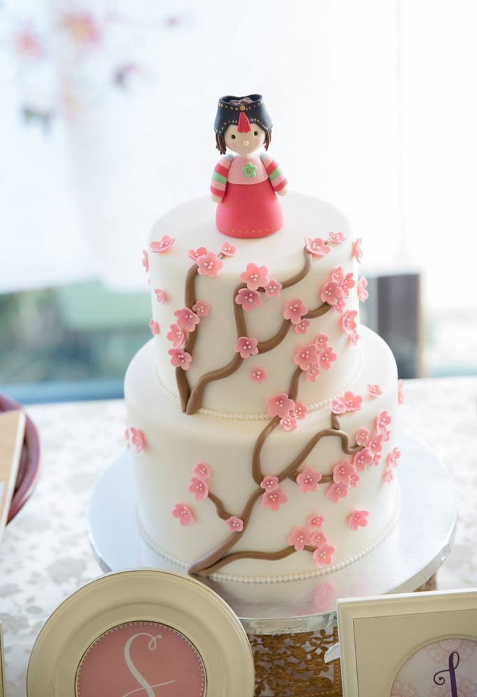 1st Birthday Cake With Matching Cherry Blossoms Traditional