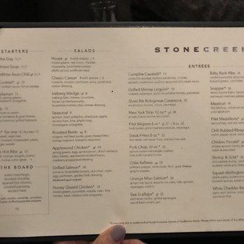 Stone Creek Restaurant Montgomery Menu