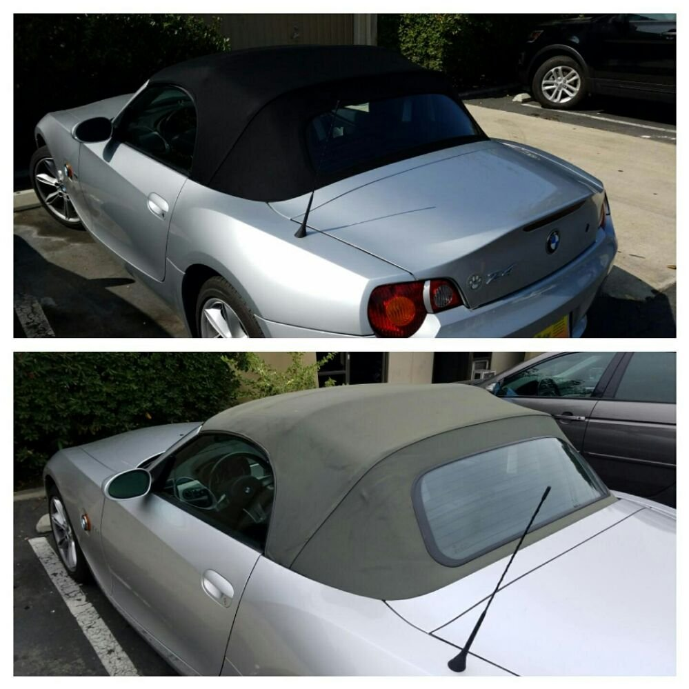 bmw z4 convertible top install before and after photos by the prestige companies auto upholstery. Black Bedroom Furniture Sets. Home Design Ideas