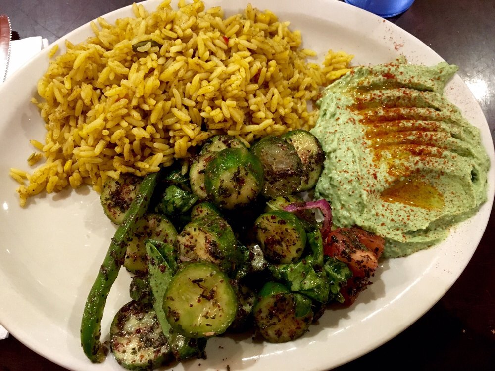 Saffron rice salad spinach garlic hummus yelp for Aladdin mediterranean cuisine houston tx