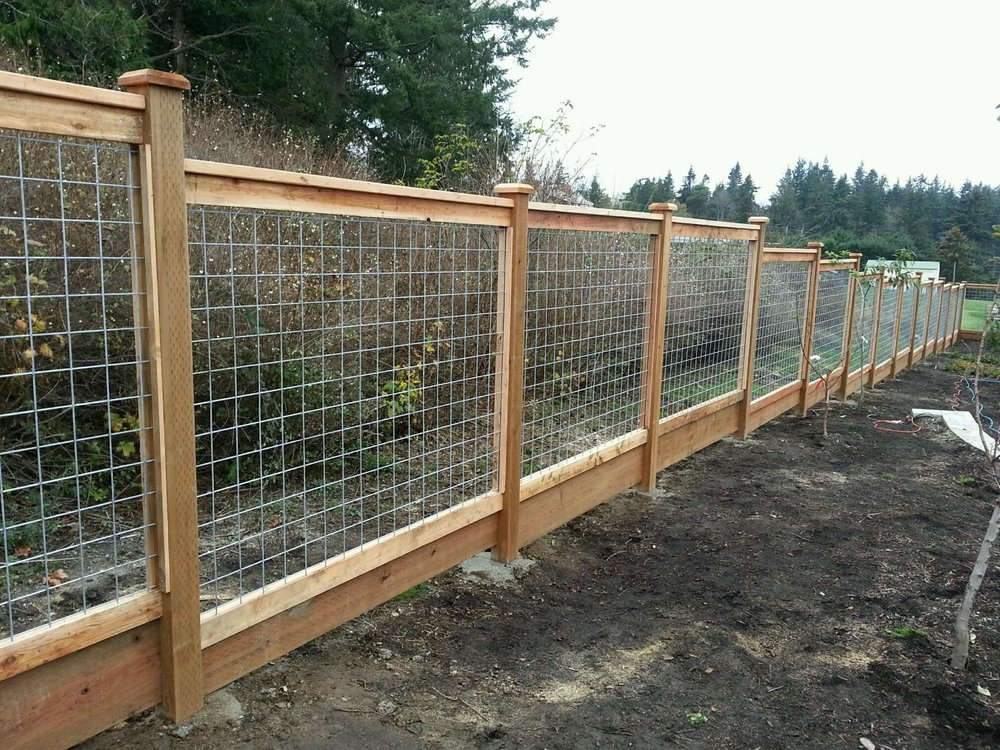 Deco mesh or Wood with wire cedar fence - Yelp