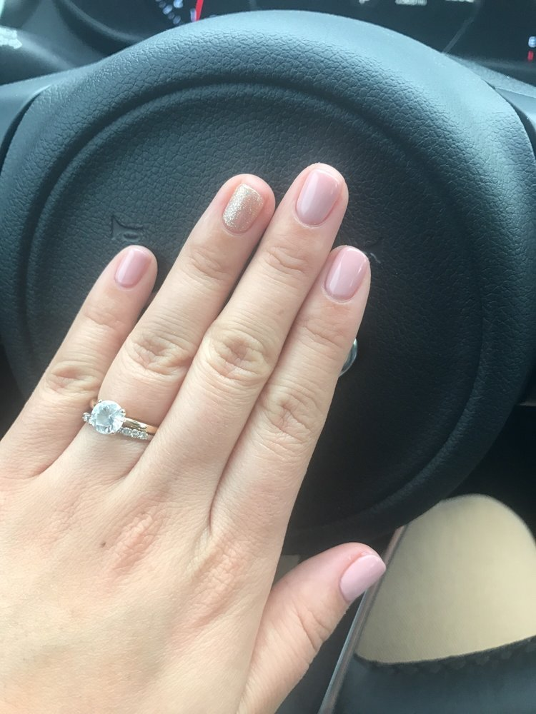 Neutral color with a bling accent nail. - Yelp