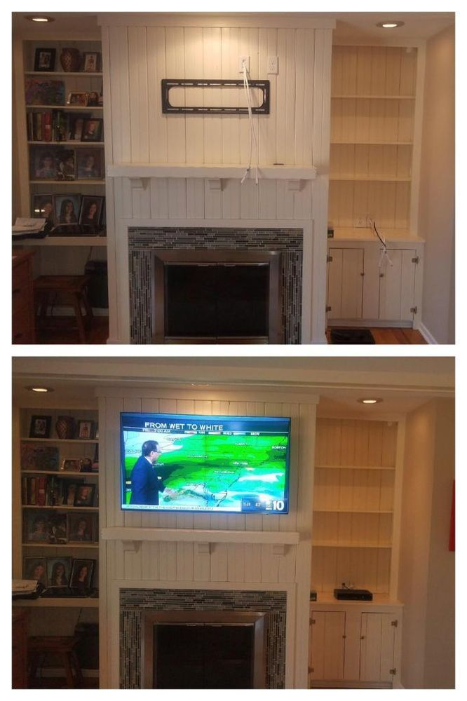 TV Wall Mount Installation: Installed an outlet behind the