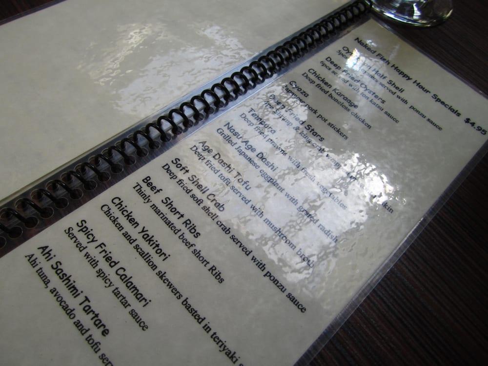 Hh food menu yelp for Naked fish menu