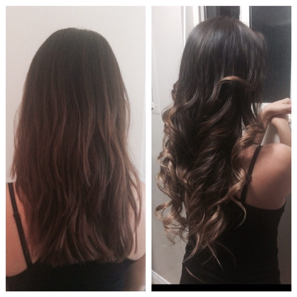 Before and after extensions balayage mid brown to sandy blonde photo of heavenly hair care oceanside ca united states before and after pmusecretfo Choice Image
