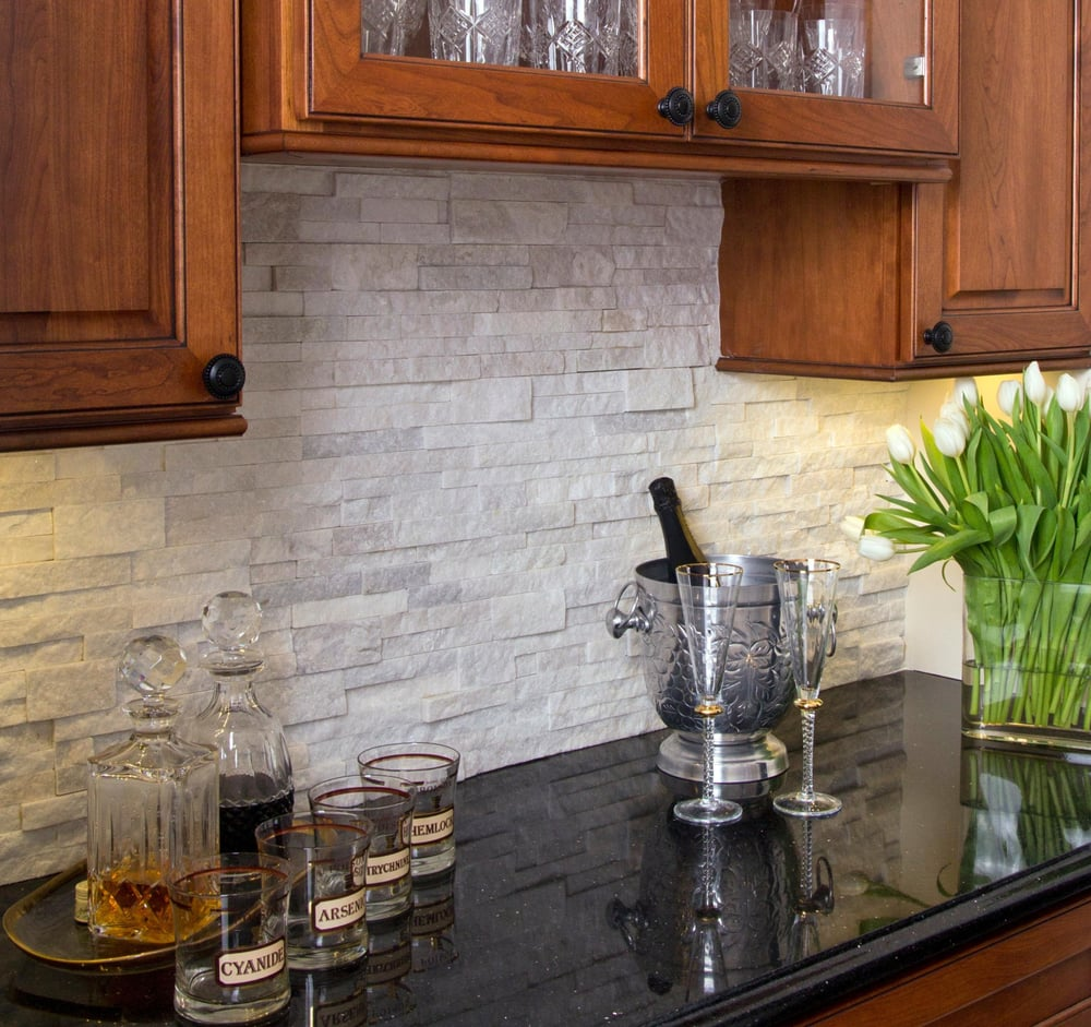 kitchen backsplash cherry cabinets black counter. 27 photos for Contemplated Spaces Stacked stone  quartz backsplash under cabinet lighting cherry