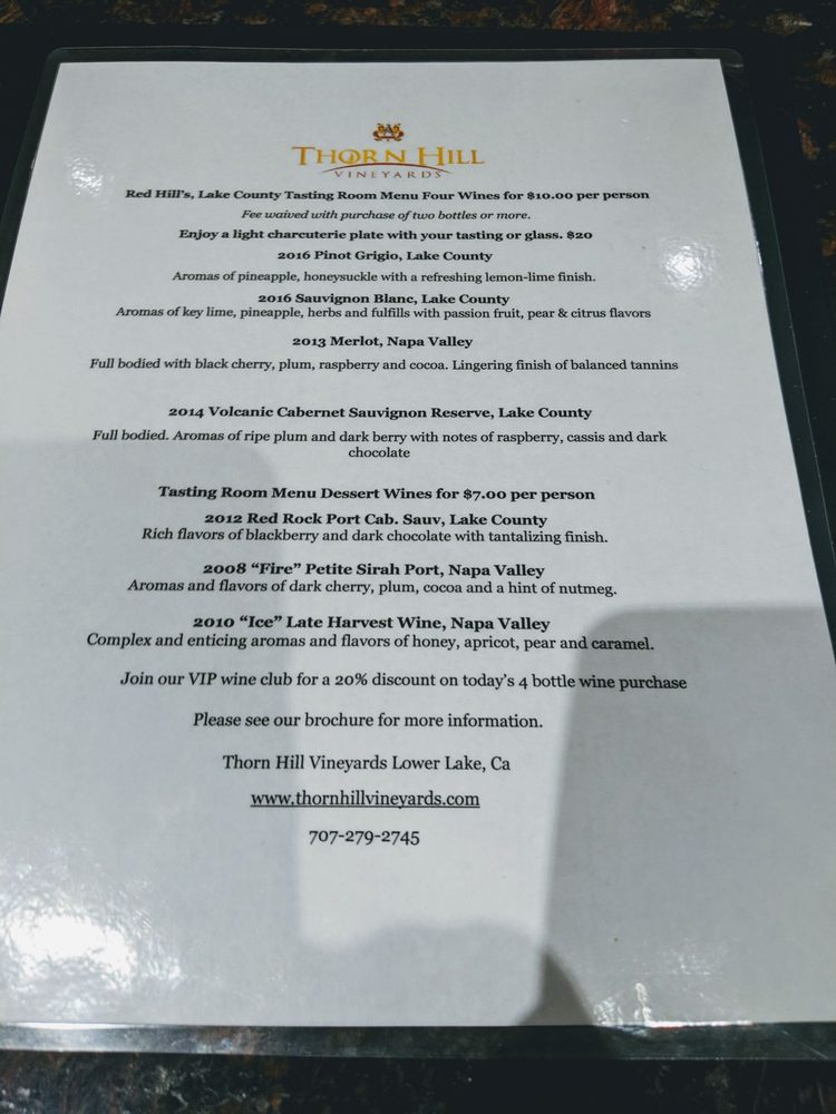 Thorn Hill Vineyards Tasting Room: 8170 S Highway 29, Lower Lake, CA