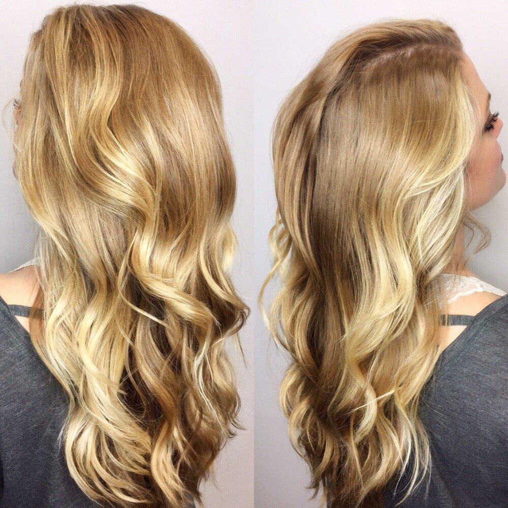 Dramatic Blonde Balayage Highlights Around The Face Long Layers Yelp