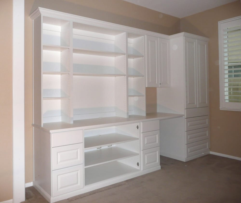 Wall Unit With Space For Electronics Tv Writing Desk And