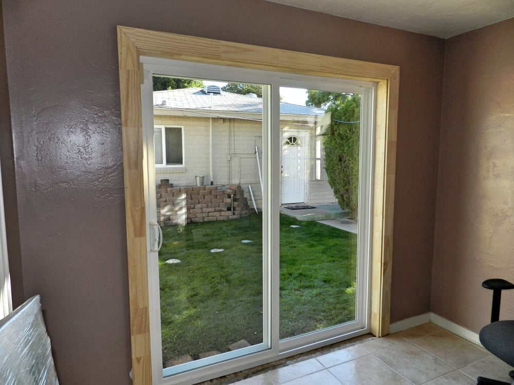 Simonton Sliding Doors >> Simonton sliding door installed with jamb extensions to the interior and custom casing. - Yelp