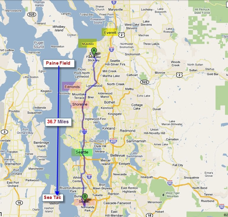 Map Of Puget Sound And The Location Of The Mukilteo Future Of Flight - Puget-sound-on-us-map