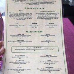 Walia Ethiopian Restaurant Menu