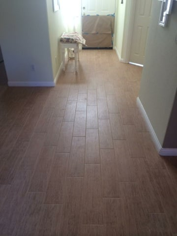 6 By 24 Inch Porcelain Wood Tile With 1 8 Inch Grout Lines