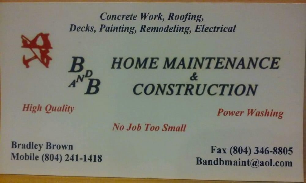 B & B Construction & Home Maintenance: Glen Allen, VA