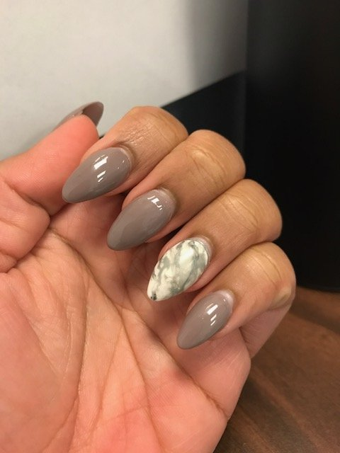 Full Set Almond Shape Marble Nail Design This Picture Was Taken