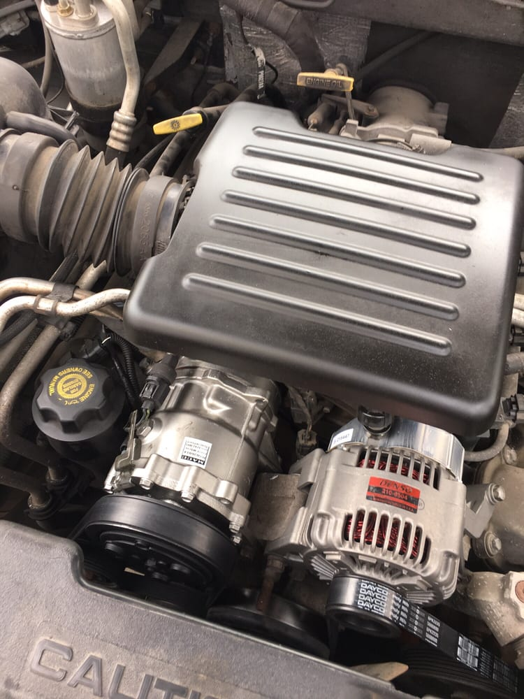 Fresh alternator, AC compressor and AC recharge for a