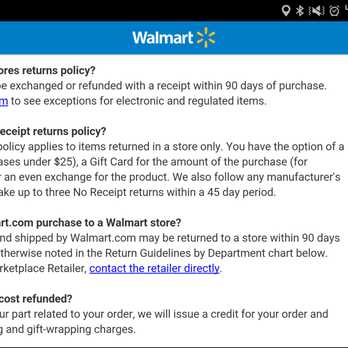 Walmart Policies and Guidelines. Find a list of Walmart's most frequently requested public policies and guidelines, including our store return policy, coupon policy and more.