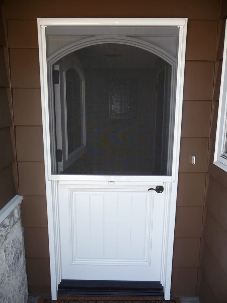Stowaway retractable screen door front dutch door pull for Pull down retractable screen door