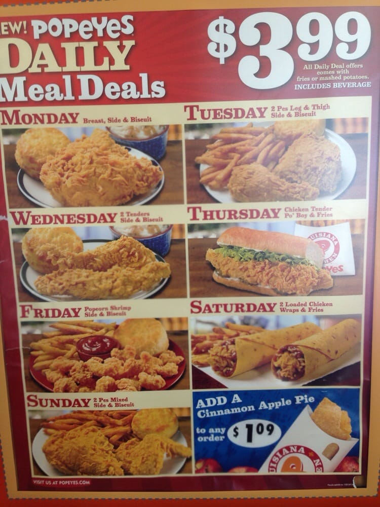 Apr 21,  · Tuesdays really are special at Popeye's too because only on Tuesdays you can get two pieces of dark meat chicken, one thigh and one leg for $ If you prefer white meat, you can get one breast and one wing for $ TripAdvisor reviews.