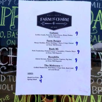 Farm To Charm Food Truck Menu