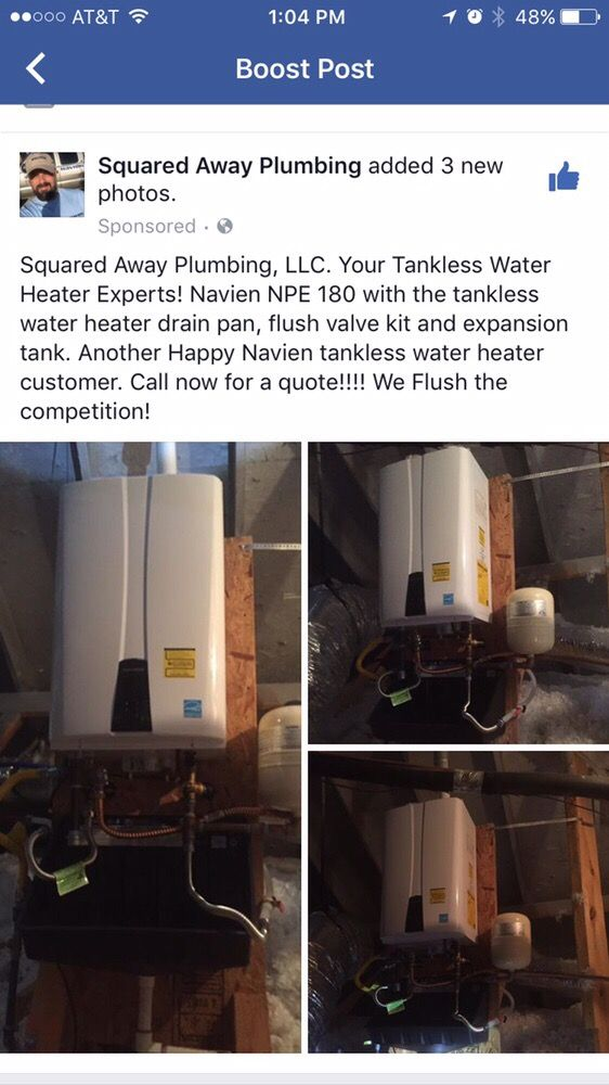 installed navien 240 a with a tankless drain pan and expansion tank