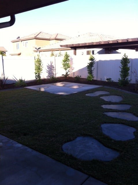 12x12 Concrete Pad With Free Formed Stepping Stones