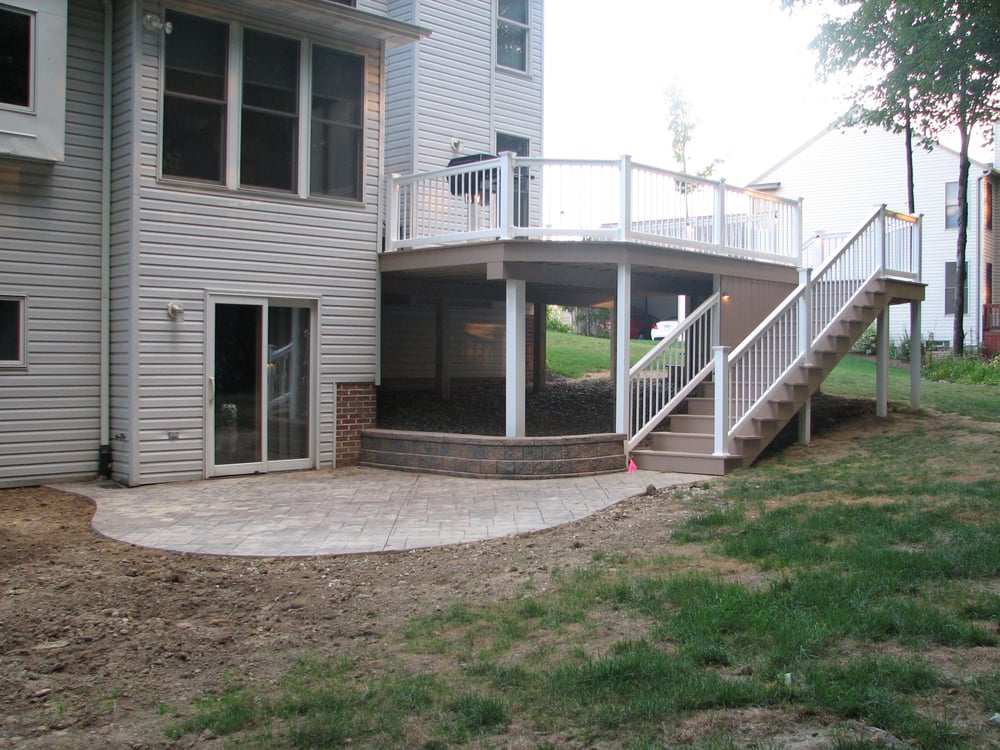 Composite Deck Colored Stamped Concrete Patio Yelp