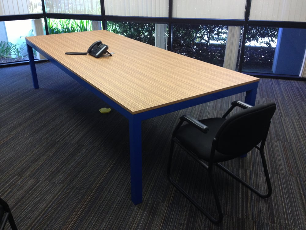 X Welded Steel Conference Table With Formica Zebrano Nt - 10 x 4 conference table