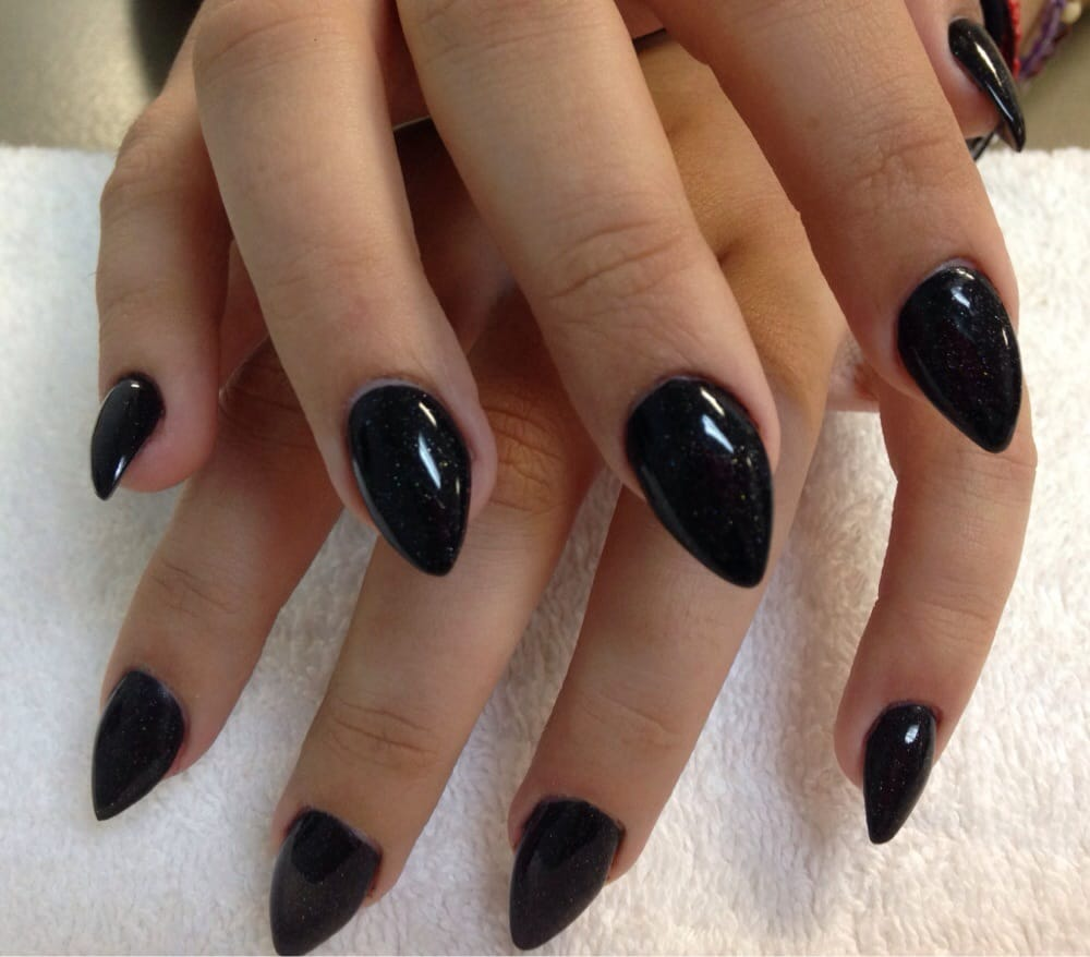 Fun Stiletto Nails With Black Acrylic Overlay Yelp