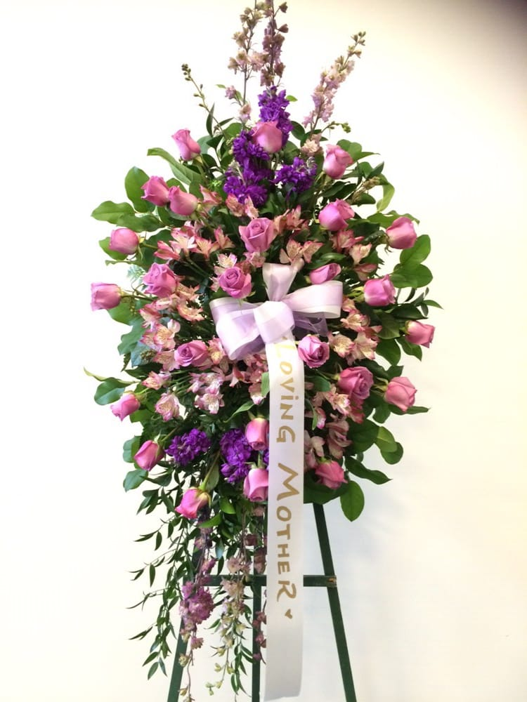 Standing Spray Arrangment Purple Roses Yelp