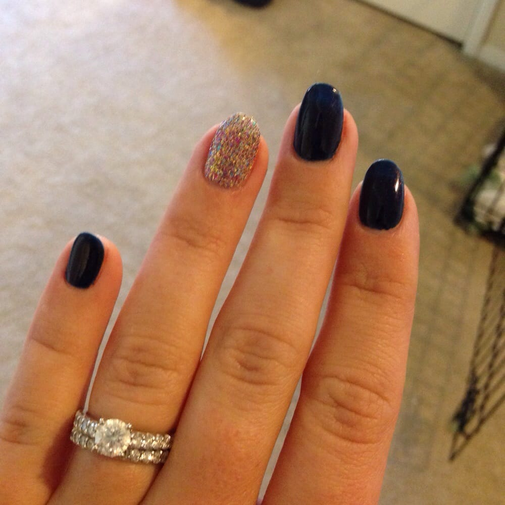 Navy nails with rainbow glitter accent nail. - Yelp