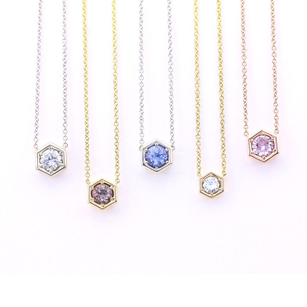 Sapphire diamond hexagon pendants 18k yellow white for Baxter s fine jewelry