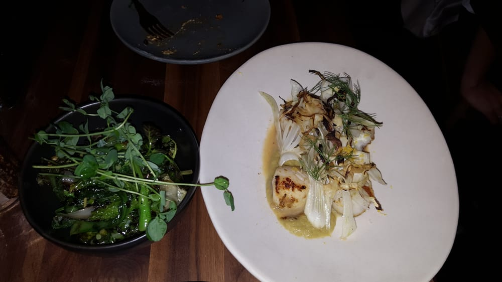 On the right, as main dish - Grilled Scallops with charred ...