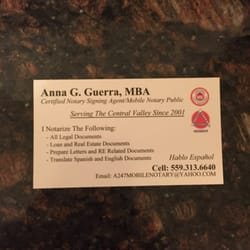 Photo Of Anna S Mobile Notary Service Fresno Ca United States Business
