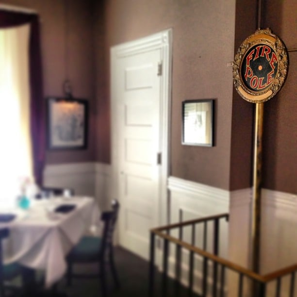 The original fire pole from the Number5 firehouse, in the ...