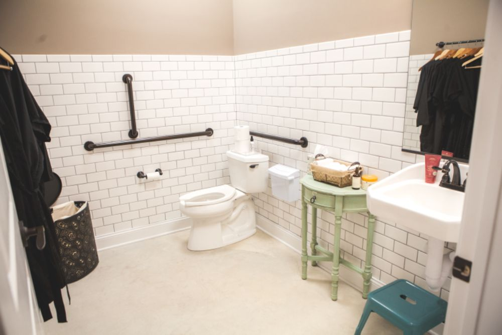 We Have Spacious ADA Compliant Restrooms Hand Tiled By Our - Ada compliant bathroom tile