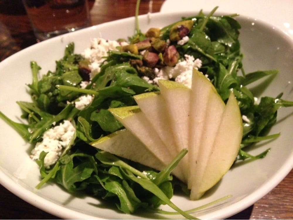 ... Unidos. D'anjou pear, goat cheese and arugula salad with pistachios