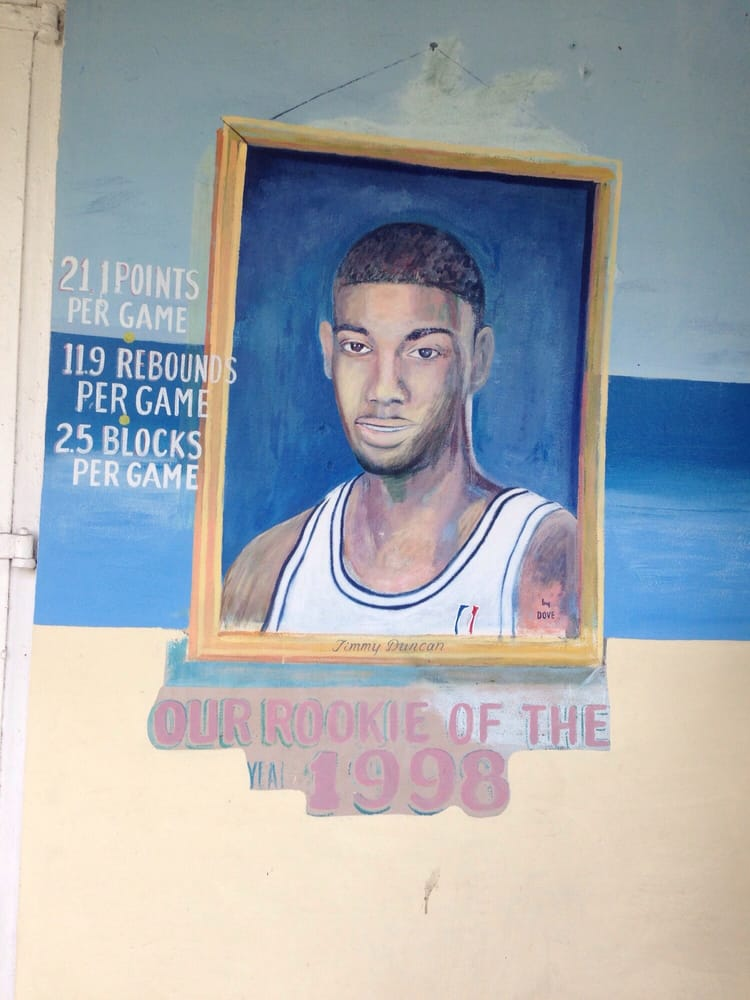 painting on the restaurant of tim duncan a native of st croix and