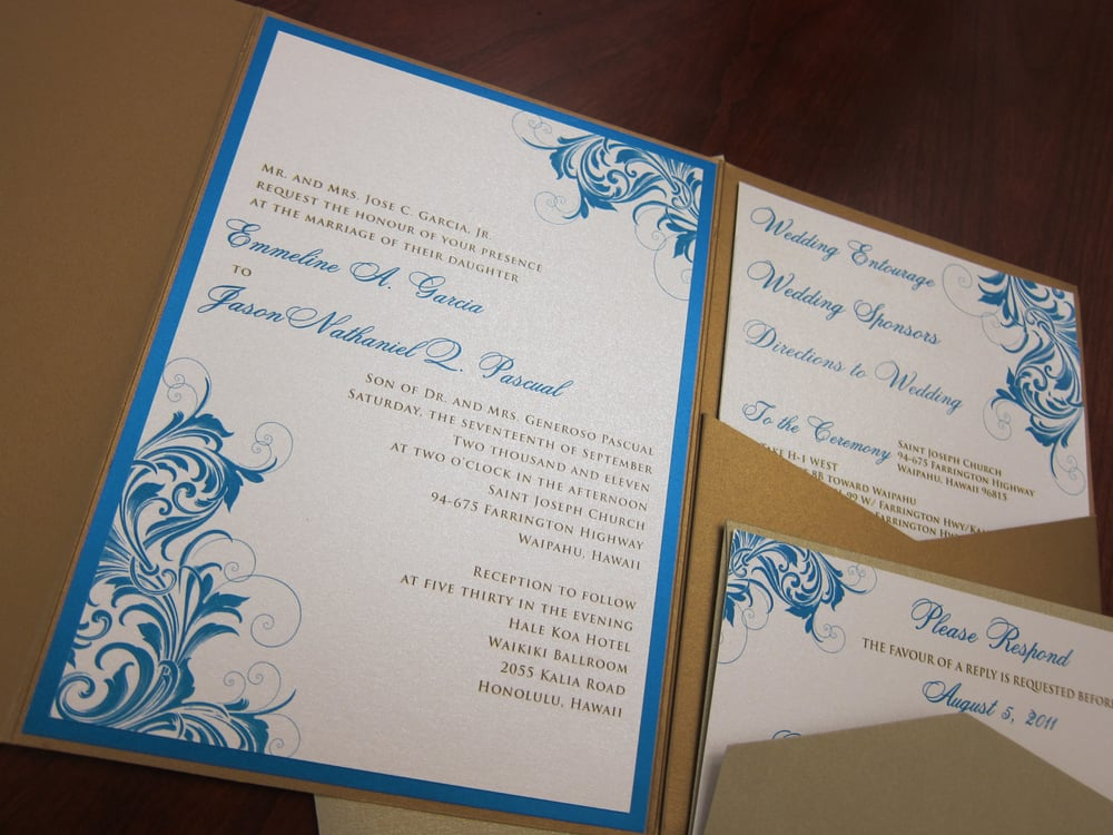 Inserts For Wedding Invitations: Pocket-fold Style With Custom Tiered Inserts. This Is A