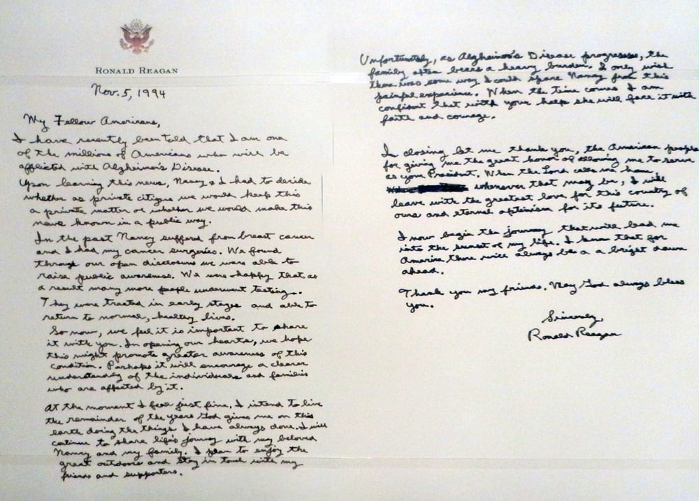ronald reagan alzheimer s letter on nov 5 1994 wrote this letter to the american 3555