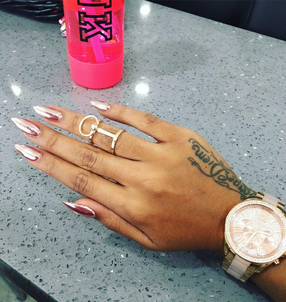 Rose Gold Chrome Nails