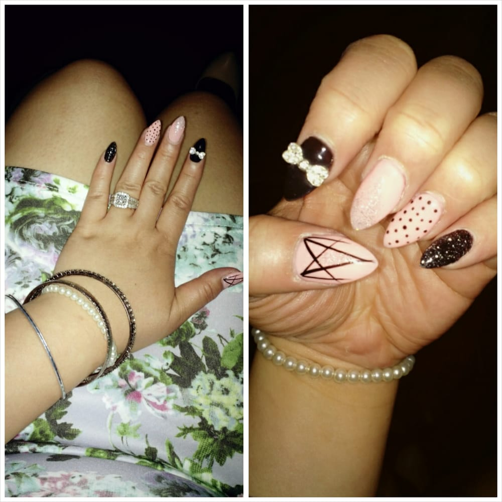 Nude Pink And Black Almond Nails Designed By Kim Love Them Yelp