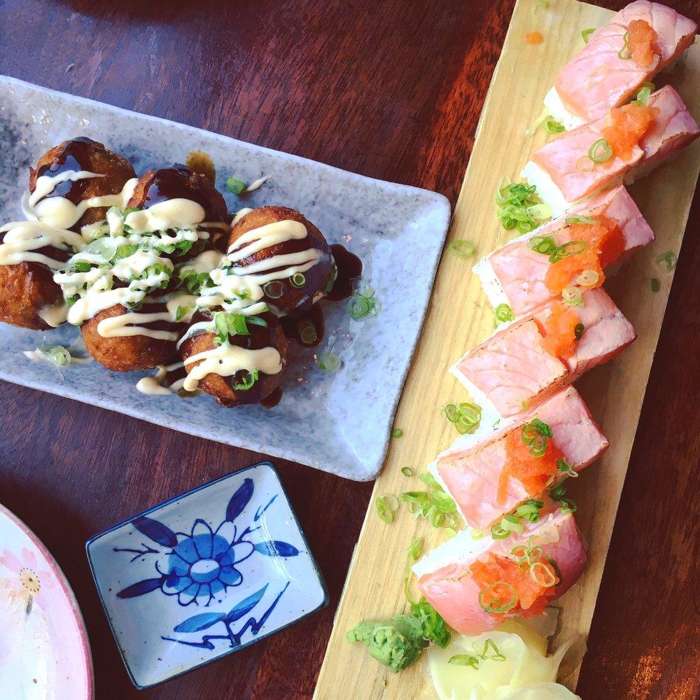 Ittoku Boston Izakaya: Hearty Takoyaki On The Left With Salmon Nigiri On The