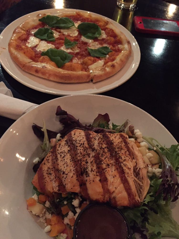 Margherita pizza and my salad with salmon yum yelp for Whiskey kitchen virginia beach