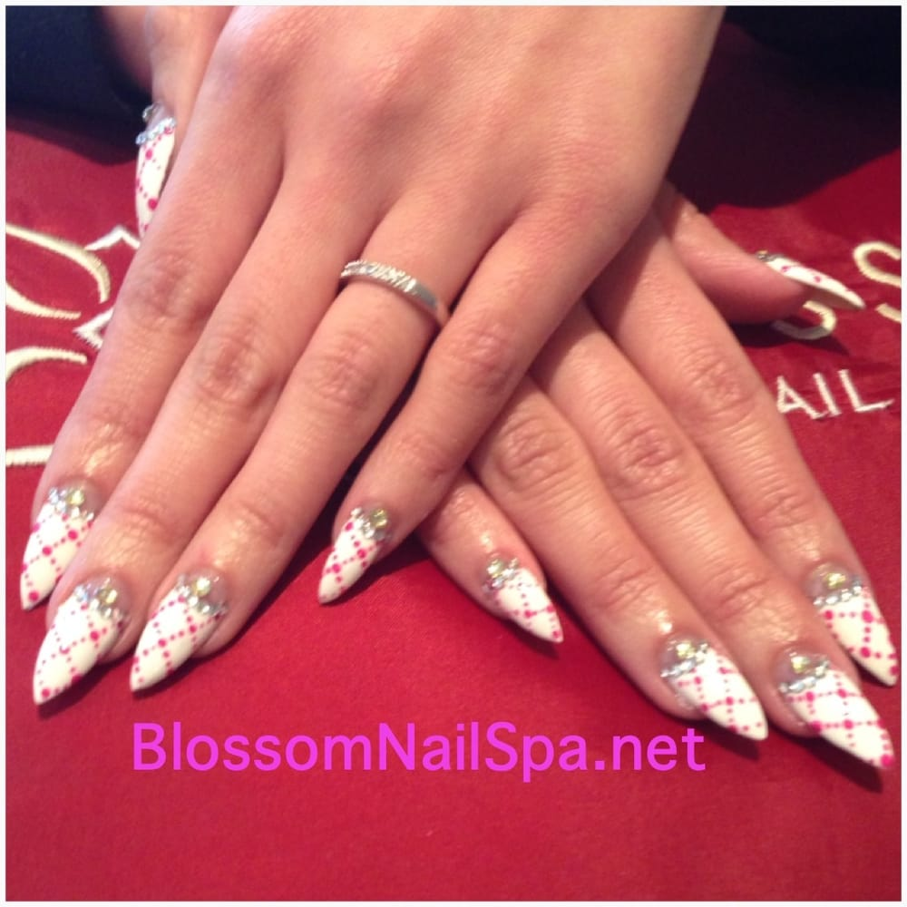 White Stiletto nails with diamonds & designs - Yelp