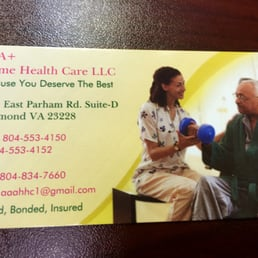 Aaa home health care home health care 2221 east parham rd photo of aaa home health care richmond va united states front of front of business card reheart Images
