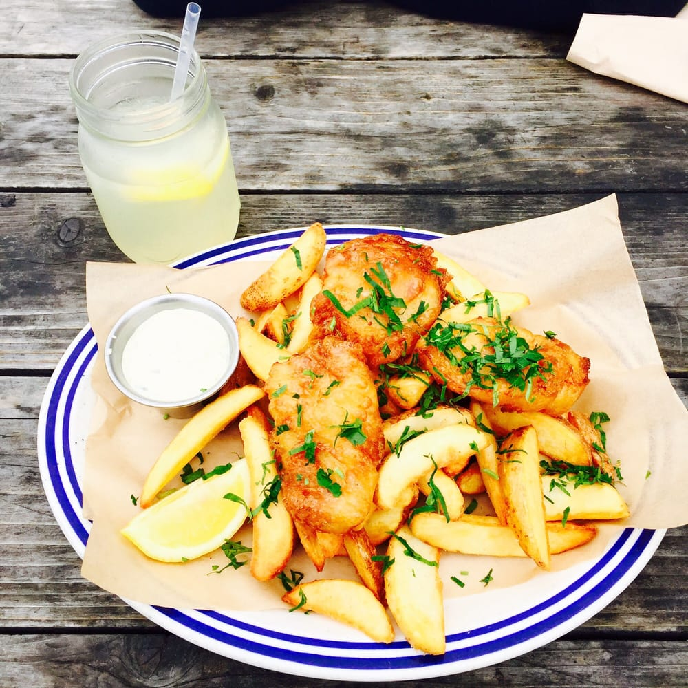 Fish and chips. Unfortunately no Heinz ketchup for fries but some organic stuff that was too ...