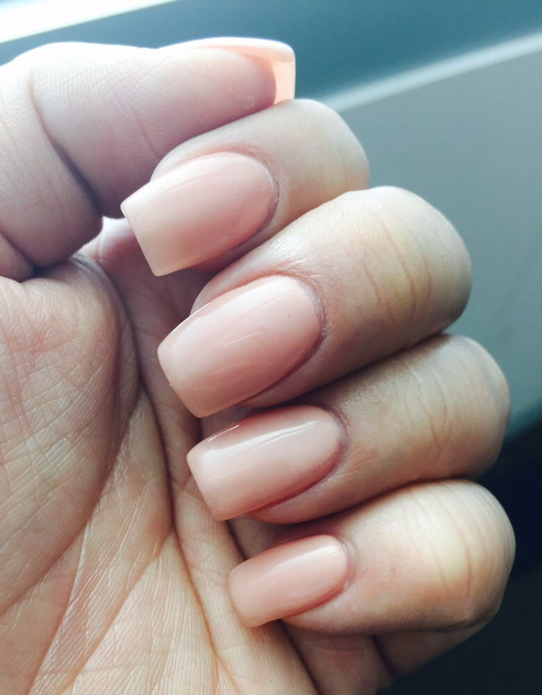 Acrylic overlay over natural nails with nude gel polish by Khanh. - Yelp