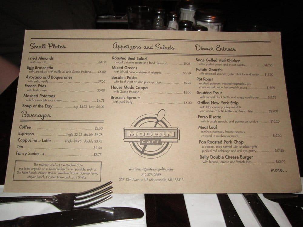 Modern cafe menu yelp