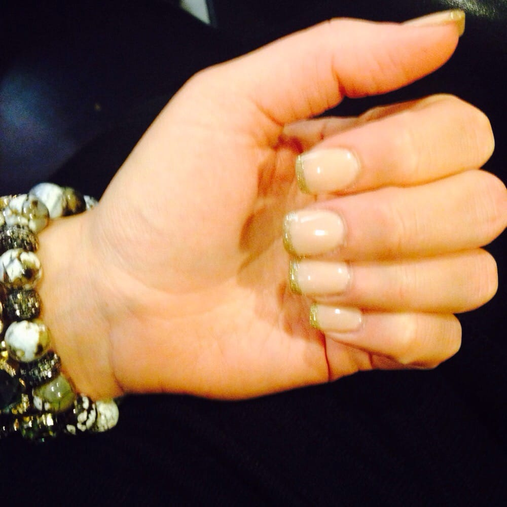 Nude nails w/ gold tips for my upcoming black-tie event! Beautiful ...